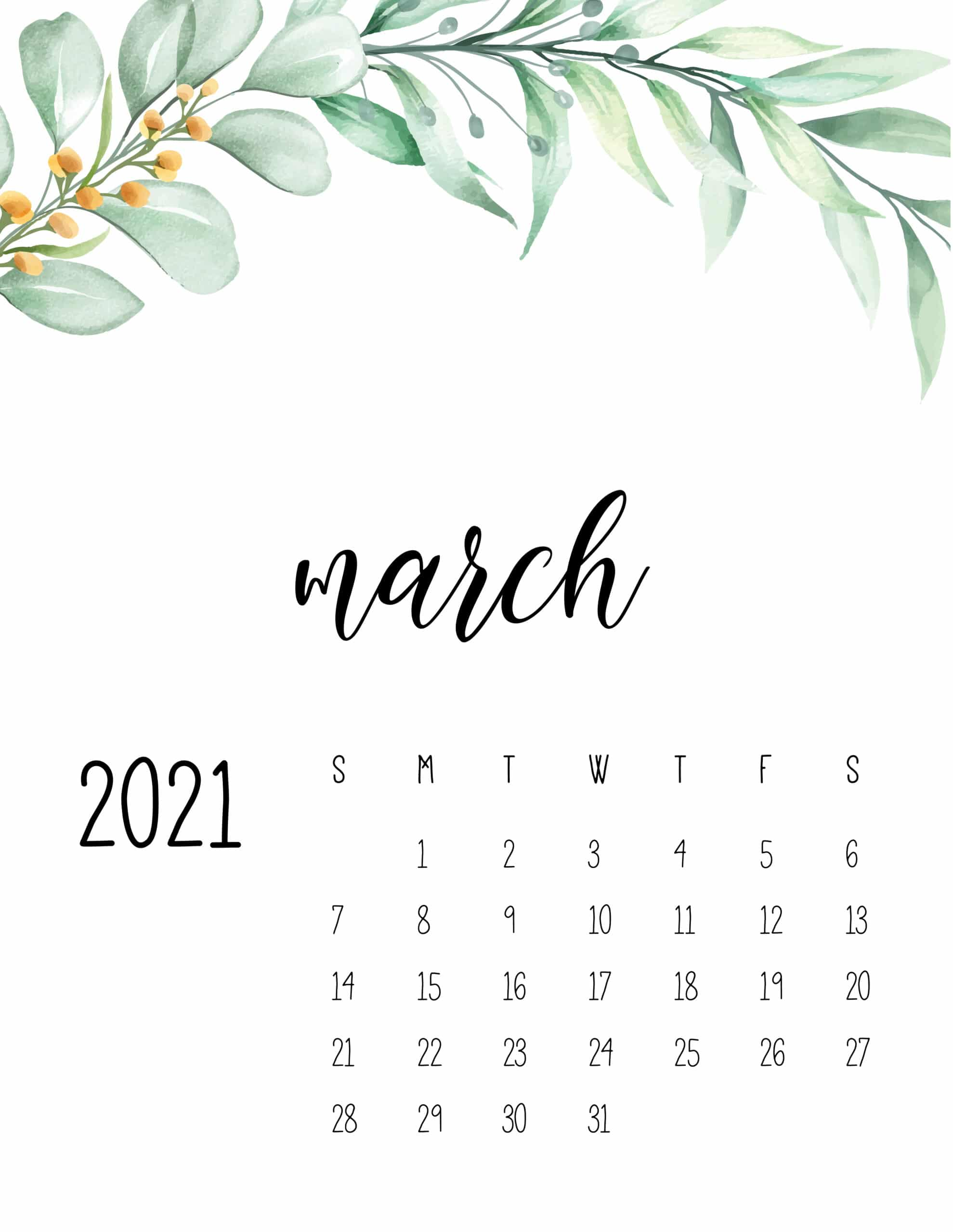 Monthly May 2021 Calendar Cute
